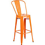 30 in. High Metal Indoor/Outdoor Vintage Barstool with Back