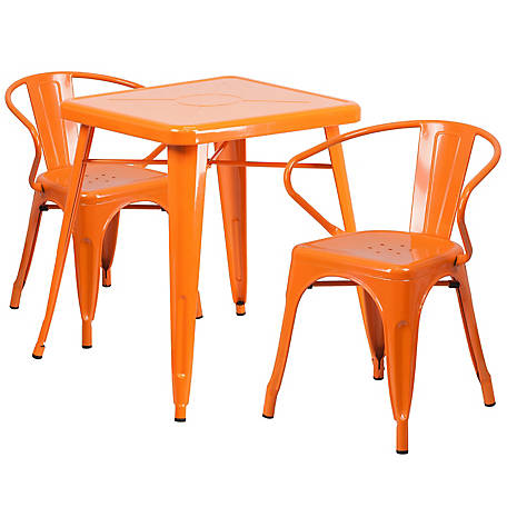 23. 75 in. Square Metal Indoor/Outdoor Table Set with 2 Arm Chairs