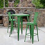 23. 75 in. Square Metal Indoor/Outdoor Bar Table Set with 2 Stools with Backs