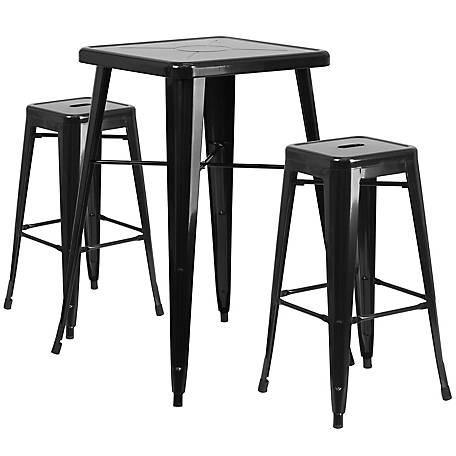 23 75 In Square Metal Indoor Outdoor Bar Table Set With