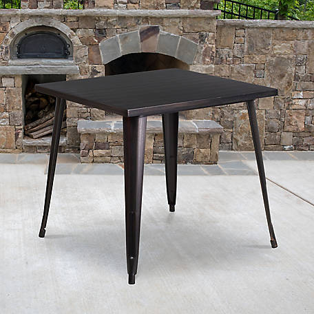 31. 75 in. Square Black-Antique Gold Metal Indoor/Outdoor Table