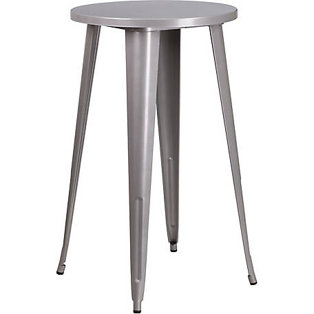 24 in. Round Metal Indoor/Outdoor Bar Height Table
