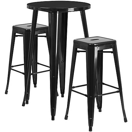 24 in. Round Metal Indoor/Outdoor Bar Table Set with 2 Square Seat Backless Stools