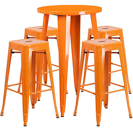 24 in. Round Metal Indoor/Outdoor Bar Table Set with 4 Square Seat Backless Stools
