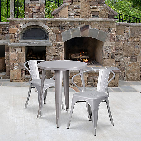 24 in. Round Metal Indoor/Outdoor Table Set with 2 Arm Chairs
