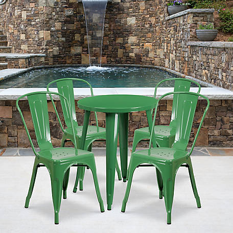 24 in. Round Metal Indoor/Outdoor Table Set with 4 Cafe Chairs