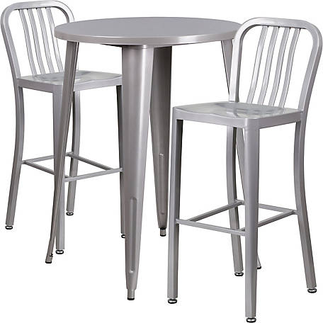 30 in. Round Metal Indoor/Outdoor Bar Table Set with 2 Vertical Slat Back Stools
