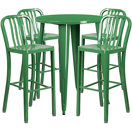 30 in. Round Metal Indoor/Outdoor Bar Table Set with 4 Vertical Slat Back Stools