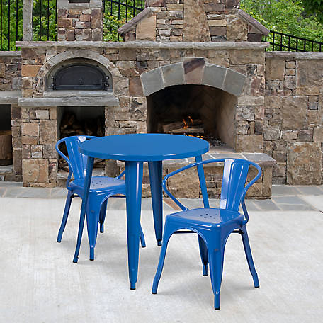 30 in. Round Metal Indoor/Outdoor Table Set with 2 Arm Chairs