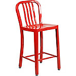 24 in. High Metal Indoor/Outdoor Counter Height Stool with Vertical Slat Back