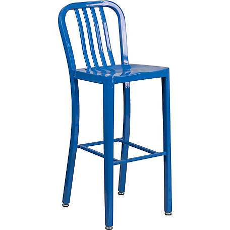 30 in. High Metal Indoor/Outdoor Barstool with Vertical Slat Back