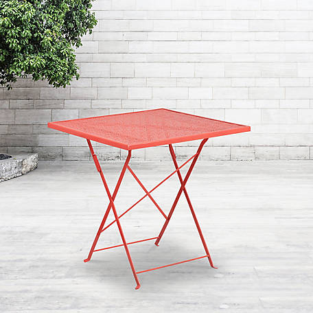 28 in. Square Indoor/Outdoor Steel Folding Patio Table