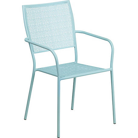 White Indoor/Outdoor Steel Patio Arm Chair with Square Back