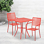 Flash Furniture 28 in. Square Indoor/Outdoor Steel Patio Table Set with 2 Square Back Chairs