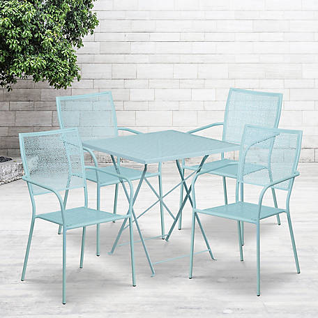 28 in. Square Indoor/Outdoor Steel Folding Patio Table Set with 4 Square Back Chairs