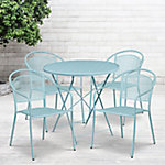 Flash Furniture 30 in. Round Indoor/Outdoor Steel Folding Patio Table Set with 4 Round Back Chairs