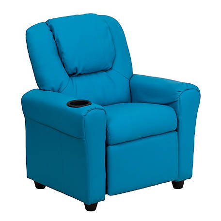 Contemporary Vinyl Kid's Recliner with Cup Holder and Headrest
