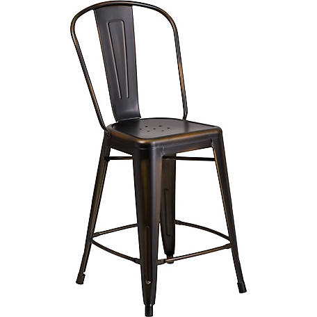 24 in. High Metal Indoor/Outdoor Counter Height Stool with Back
