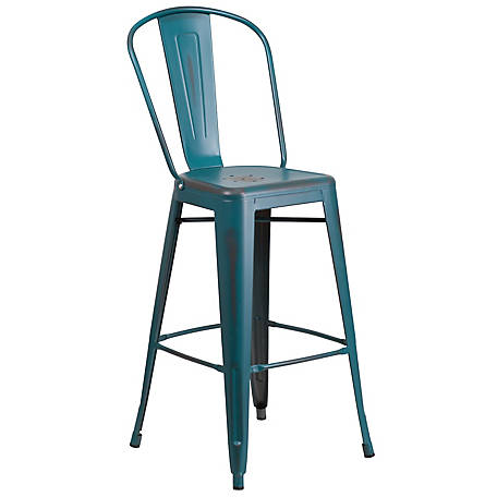 30 in. High Metal Indoor/Outdoor Barstool with Back