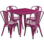 31. 5 in. Square Metal Indoor/Outdoor Table Set with 4 Stack Chairs