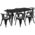 31. 5 in. x 63 in. Rectangular Metal Indoor/Outdoor Table Set with 6 Arm Chairs