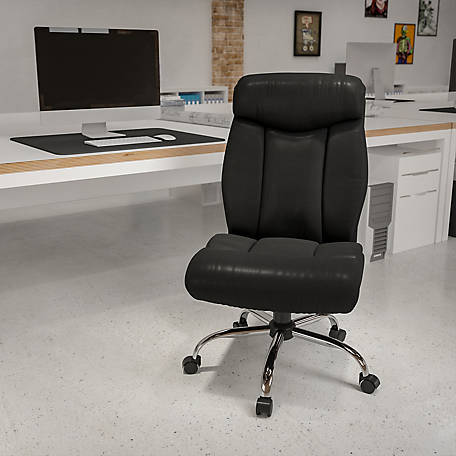 HERCULES Series Big & Tall 400 lb. Rated Black Leather Executive Swivel Chair with Chrome Base