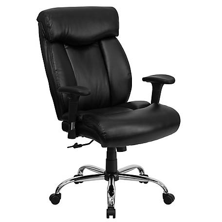 HERCULES Series Big & Tall 400 lb. Rated Black Leather Swivel Chair with Chrome Base