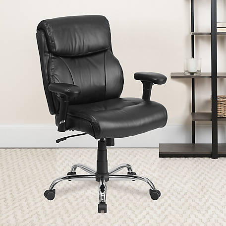 HERCULES Series Big & Tall 400 lb. Rated Leather Swivel Task Chair with Adjustable Arms