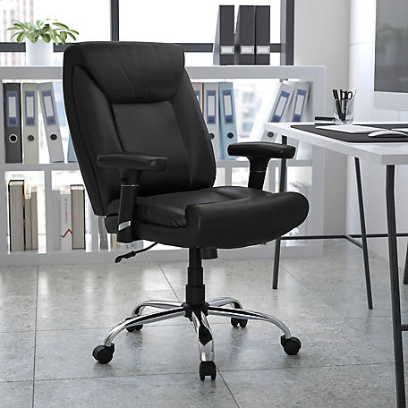 HERCULES Series Big & Tall 400 lb. Rated Black Leather Swivel Task Chair