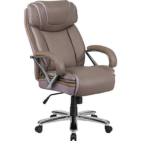 HERCULES Series Big & Tall 500 lb. Rated Taupe Leather Executive Swivel Chair with Extra Wide Seat