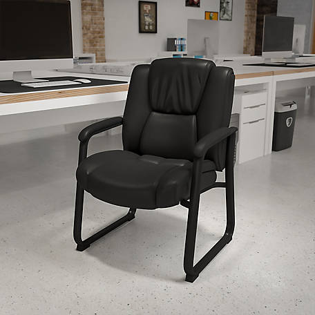 HERCULES Series Big & Tall 500 lb. Rated Leather Executive Side Reception Chair with Sled Base
