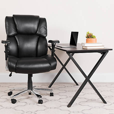 HERCULES Series 24/7 Intensive Use Big & Tall 400 lb. Rated Leather Executive Swivel Chair with Lumbar Knob