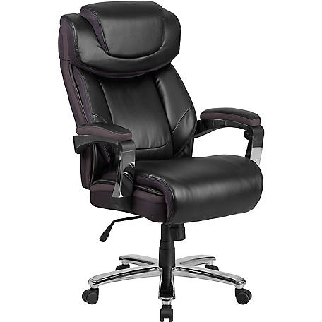 HERCULES Series Big & Tall 500 lb. Rated Brown Leather Executive Swivel Chair with Height Adjustable Headrest