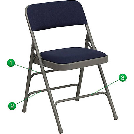 HERCULES Series Curved Triple Braced & Double Hinged Fabric Metal Folding Chair