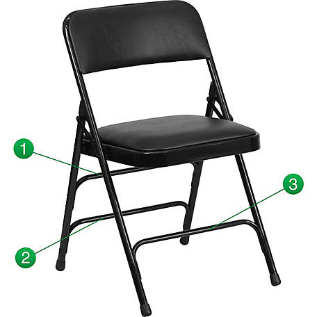 HERCULES Series Curved Triple Braced & Double Hinged Vinyl Fabric Metal Folding Chair