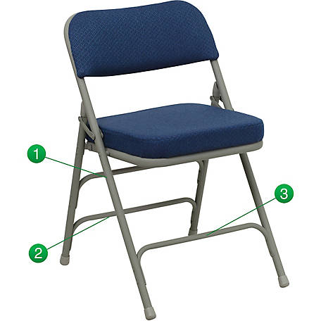HERCULES Series Premium Curved Triple Braced & Double Hinged Fabric Metal Folding Chair