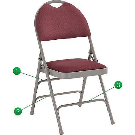 HERCULES Series Ultra-Premium Triple Braced Fabric Metal Folding Chair with Easy-Carry Handle