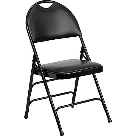 HERCULES Series Ultra-Premium Triple Braced Vinyl Metal Folding Chair with Easy-Carry Handle