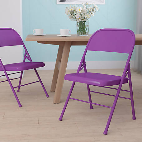 HERCULES COLORBURST Series Triple Braced & Double Hinged Metal Folding Chair