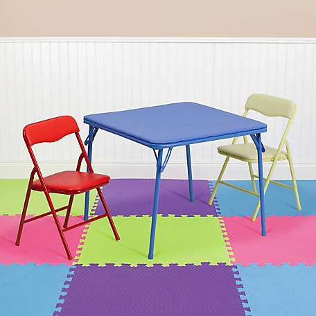 Kid's Colorful 3-Piece Folding Table and Chair Set