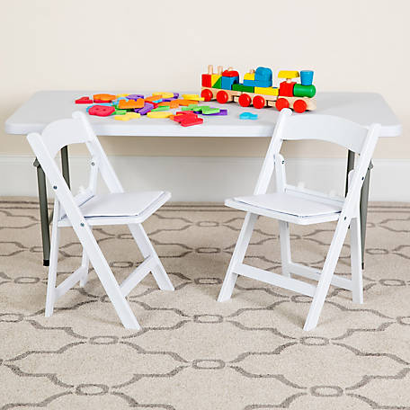 Kid's White Resin Folding Chair with White Vinyl Padded Seat