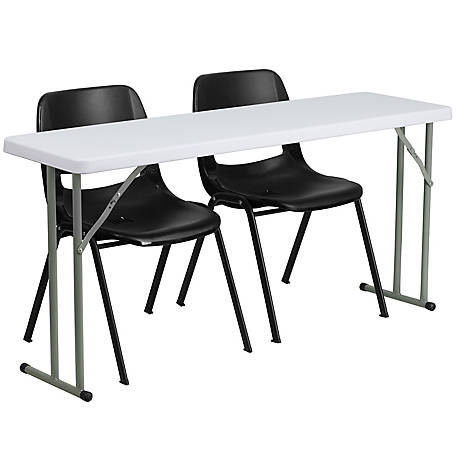 19 in. x 60 in. Plastic Folding Training Table Set with 2 Metal Folding Chairs