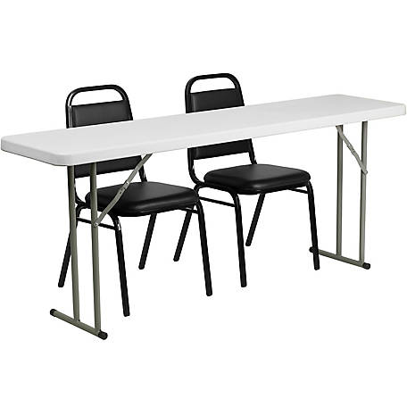 19 in. x 72 in. Plastic Folding Training Table Set with 2 Trapezoidal Stack Chairs