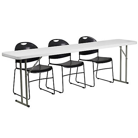 19 in. x 96 in. Plastic Folding Training Table Set with 3 Plastic Folding Chairs
