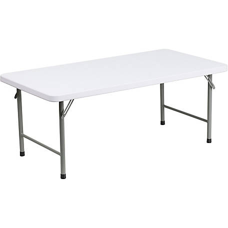 24 in. W x 48 in. L x 19 in. H Kid's Granite White Plastic Folding Table