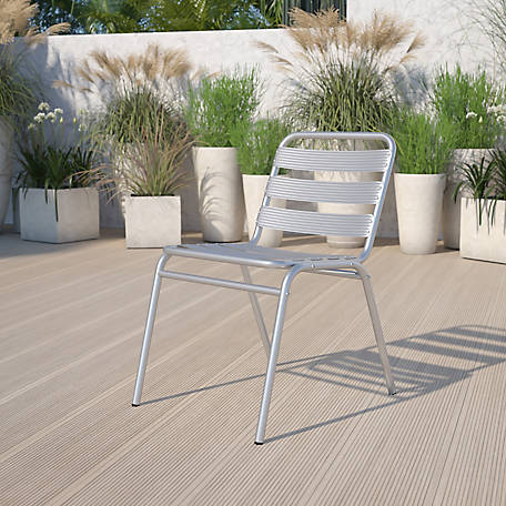 Commercial Aluminum Indoor/Outdoor Restaurant Stack Chair with Triple Slat Back