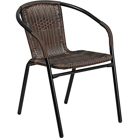 Gray Rattan Indoor/Outdoor Restaurant Stack Chair