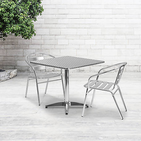 31. 5 in. Square Aluminum Indoor/Outdoor Table with Base