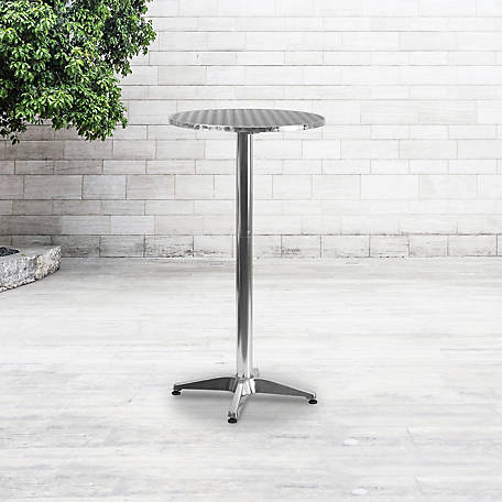 23. 25 in. Round Aluminum Indoor/Outdoor Folding Bar Height Table with Base