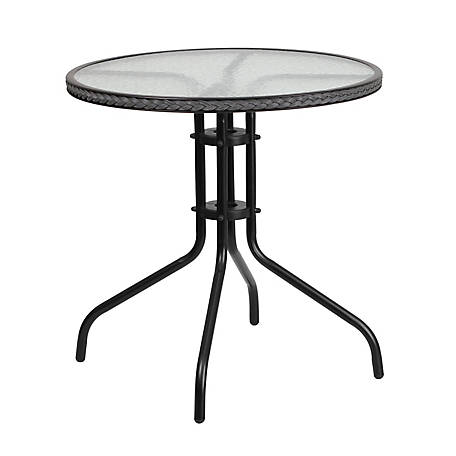 28 in. Round Tempered Glass Metal Table with Rattan Edging